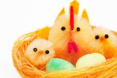 Easter chickens and hen in a nest Royalty Free Stock Photo