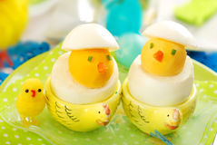 Easter chickens made from boiled eggs Royalty Free Stock Photos