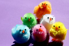 Easter chickens. Pastel coloured Easter chickens on a violet background Royalty Free Stock Image