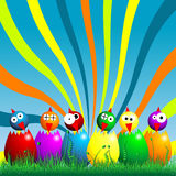 Easter chicks. And on the grass over cloudy blue sky Royalty Free Stock Photography