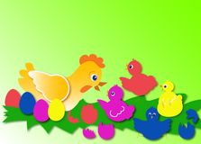 Easter chicks. And eggs illustration Royalty Free Stock Photography