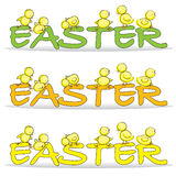 Easter Chicks. Hand drawn picture of a Easter chicks climbing over the word Easter, illustrated in a loose style. 3 different color options. Vector eps available Royalty Free Stock Images