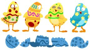 Easter Chicks. Funny illustration of chicks that just hatched in the Easter season to find themselves colored with the same colors and patterns as the Easter Stock Illustration