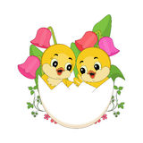 Easter Chicks in egg Stock Photos