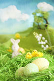 Easter chicks and eggs royalty free stock photography