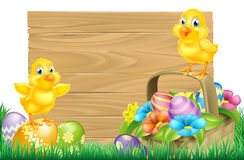 Easter Chicks and Eggs Basket Sign Stock Images