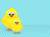 Easter chicks over dotted background with place for text Stock Images