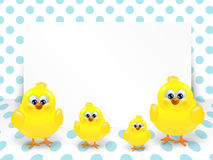 Easter chicks and white blank over dotted background Stock Photos