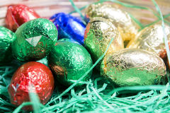 Easter chocolate bonbons. Chocolate bonbons in colored paper Stock Photography