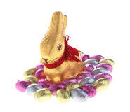 Easter chocolate bunny. And eggs royalty free stock photos