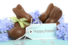 Easter chocolate bunny and Easter eggs Royalty Free Stock Photo