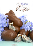 Easter chocolate bunny and Easter eggs Stock Images