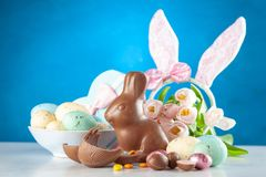 Easter chocolate bunny and eggs stock photos