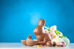 Easter chocolate bunny and eggs stock images