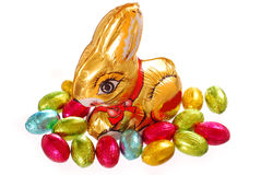 Easter chocolate bunny and eggs Royalty Free Stock Photo