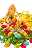 Easter chocolate bunny and eggs Royalty Free Stock Images