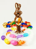 Easter chocolate bunny and eggs Royalty Free Stock Image