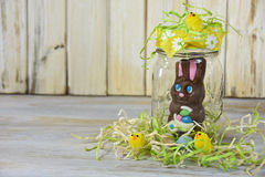 Easter chocolate bunny in jar Royalty Free Stock Photography