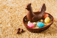 Easter chocolate chicken and eggs Royalty Free Stock Photo