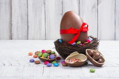 Easter chocolate egg stock photography