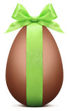 Easter chocolate egg with green ribbon bow Royalty Free Stock Photography