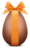 Easter chocolate egg with orange ribbon bow Royalty Free Stock Image
