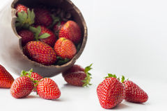Easter chocolate egg and strawberries isolated Royalty Free Stock Photos