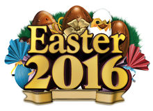 Easter chocolate egg and text 2016 Stock Photos