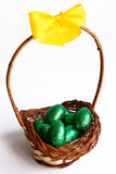 Easter chocolate eggs in a basket Royalty Free Stock Images