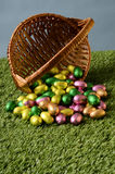 Easter chocolate eggs and basket Stock Images