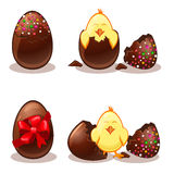 Easter chocolate eggs and chik Royalty Free Stock Photo