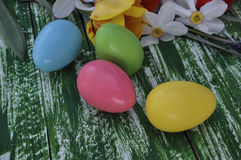 Easter chocolate eggs in colored glazes Stock Image
