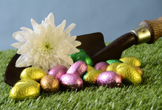 Easter chocolate eggs and gardening scene Stock Images