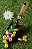 Easter chocolate eggs and gardening scene Royalty Free Stock Photography