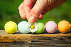 Easter chocolate eggs Stock Photo