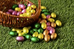 Easter chocolate eggs and hen Royalty Free Stock Images