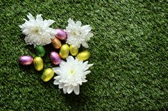 Easter chocolate eggs and hen Stock Images