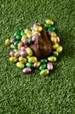 Easter chocolate eggs and hen Royalty Free Stock Photos