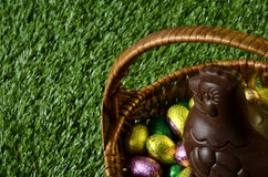Easter chocolate eggs and hen Royalty Free Stock Photography