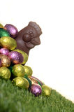 Easter chocolate eggs and hen Royalty Free Stock Photo