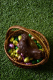 Easter chocolate eggs and hen Stock Photography