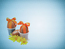 Easter chocolate eggs on vintage background Stock Image