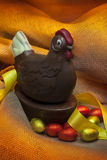 Easter - Chocolate Hen and Eggs Royalty Free Stock Photo