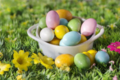 Easter  chocolate over spring background Stock Image