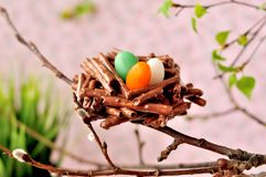 Easter Chocolate Pretzel Nests Royalty Free Stock Photography