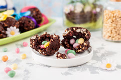 Easter Chocolate and Puffed Wheat Egg with Surprise Royalty Free Stock Photos