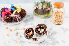 Easter Chocolate and Puffed Wheat Egg with Surprise Royalty Free Stock Images