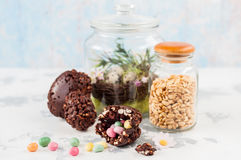 Easter Chocolate and Puffed Wheat Egg with Surprise Royalty Free Stock Photography
