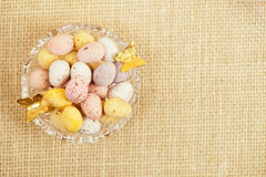 Easter chocolate speckled eggs in bowl Stock Photography