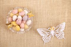 Easter chocolate speckled eggs in bowl butterfly Royalty Free Stock Photo